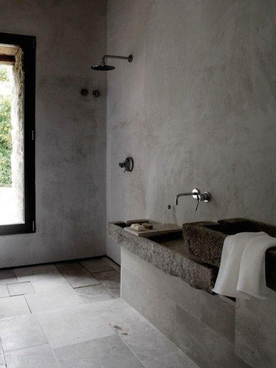 индустриальный минимализм ванной комнаты