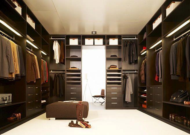 дизайн П-образной гардеробной