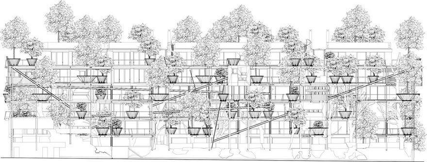 план фасада эко дома 25 green