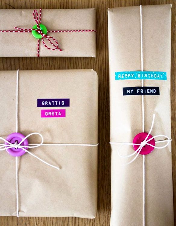 идеи оригинальной упаковки подарков с пуговицами