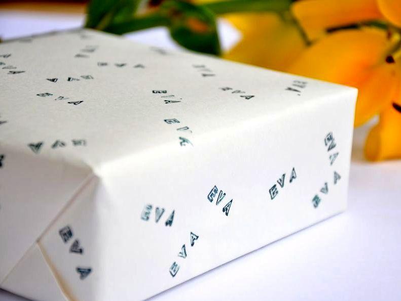 упаковочная бумага своими руками с печатью имени