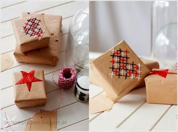 оригинальная упаковка подарка своими руками с вышивкой по бумаге