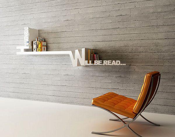необычный дизайн книжных полок