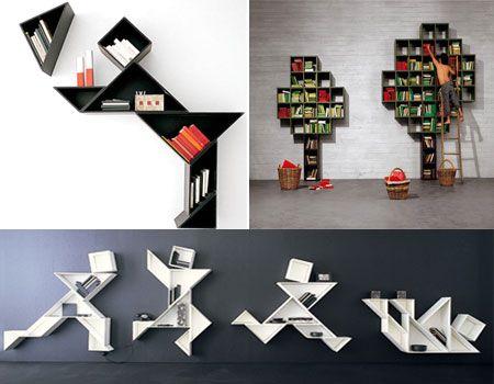 оригинальный дизайн книжных полок