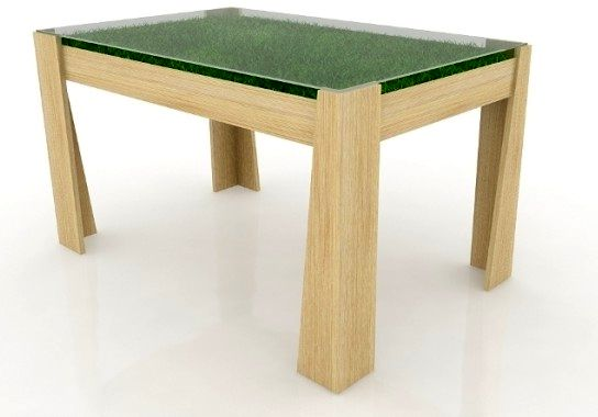 стол с травой под стеклом