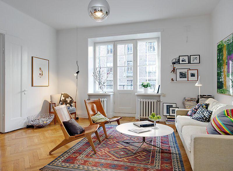 восточные ковры в интерьре скандинавского стиля