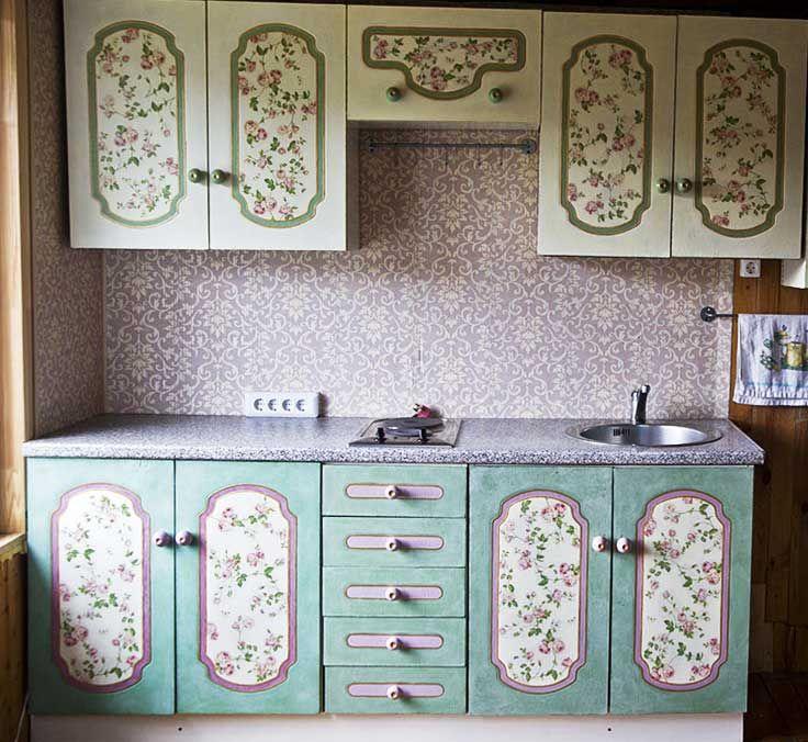 декор кухонной мебели обоями