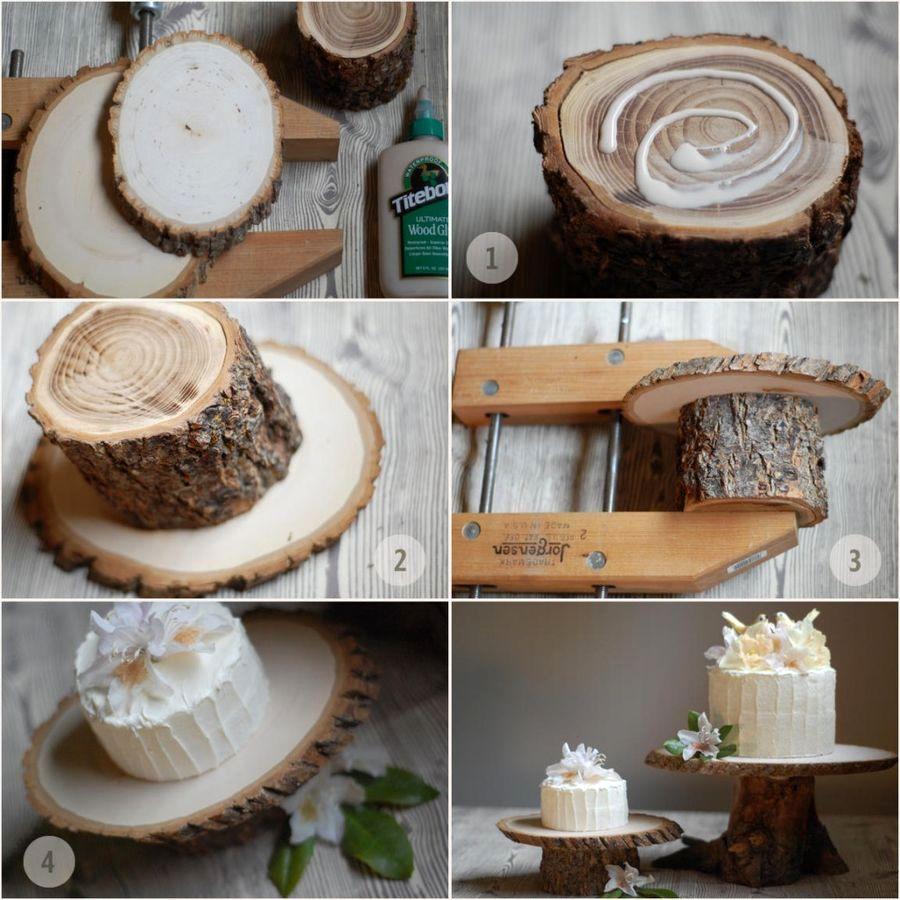 как сделать подставка для торта из дерева