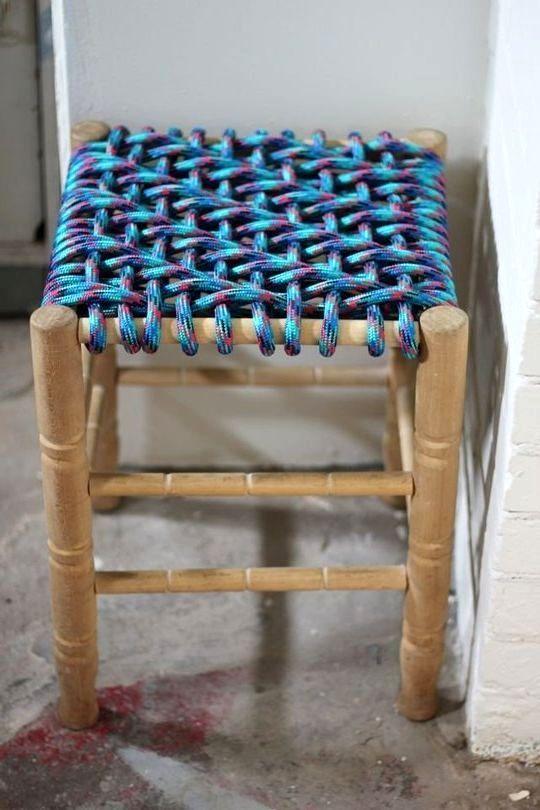 табуретка с плетеным сиденьем диагональное плетение 01