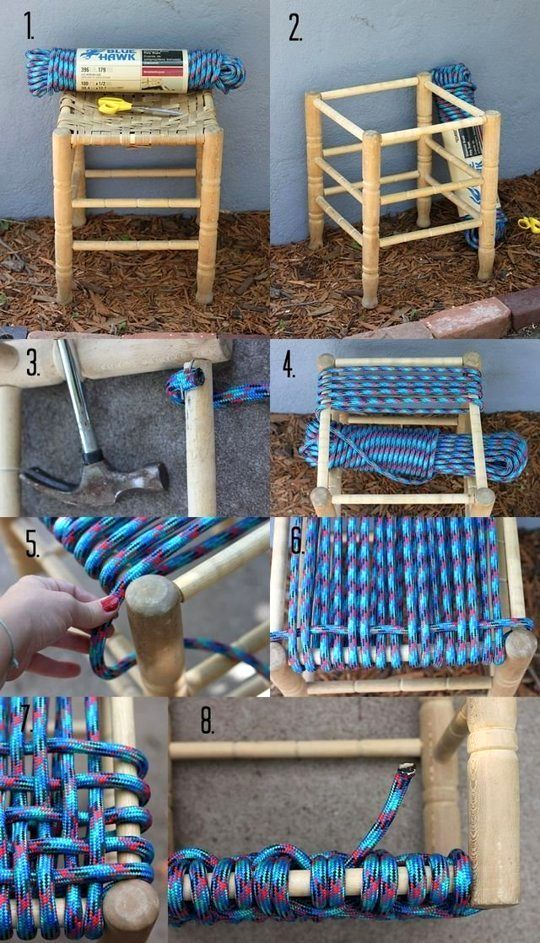 табуретка с плетеным сиденьем диагональное плетение 02
