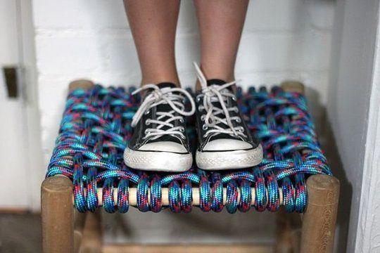 табуретка с плетеным сиденьем диагональное плетение 03