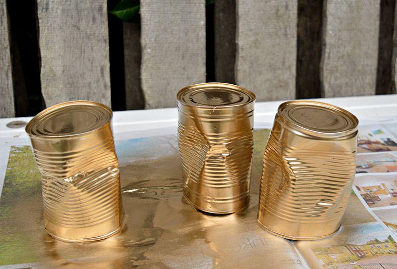 золотистые кадки для суккулентов своими руками