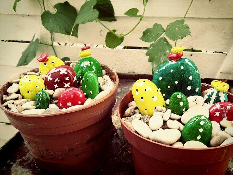 кактусы из камней своими руками