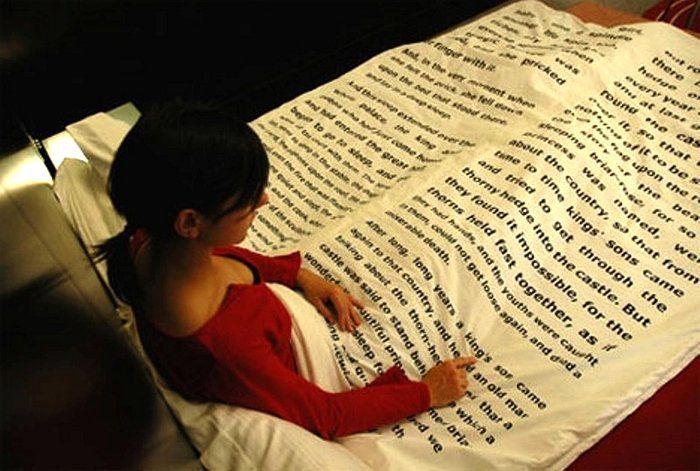 дизайн постельного белья в виде книги