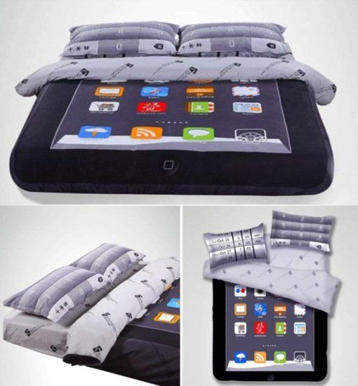 постельные принадлежности в виде iPad