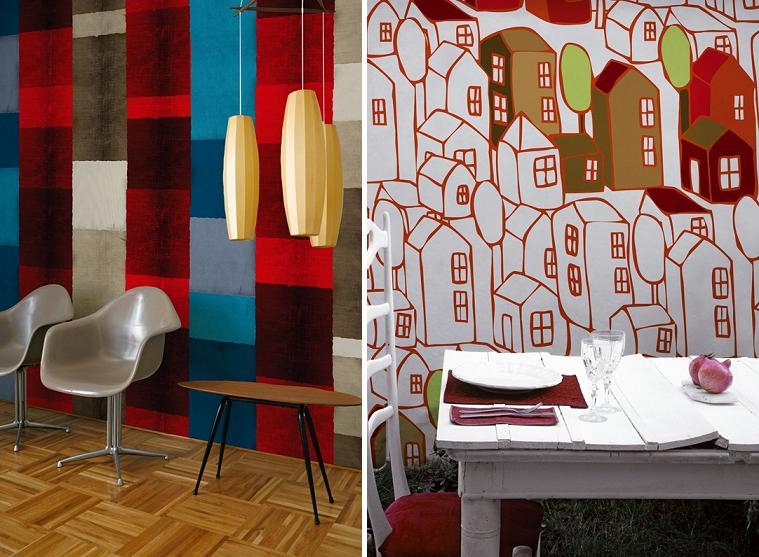 Пэчворк и домики, фото обои на стену Wall&Deco
