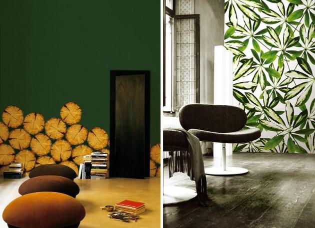 поленья и тропики, оригинальные фото обои Wall&Deco