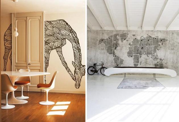 жираф и карта мира, виниловые фотообои Wall&Deco