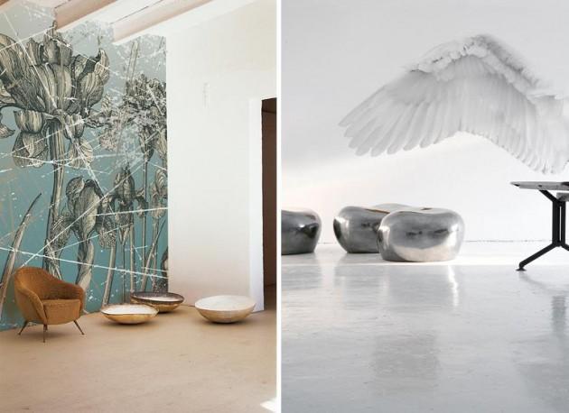 цветы и крыло ангела, виниловые фотообои Wall&Deco