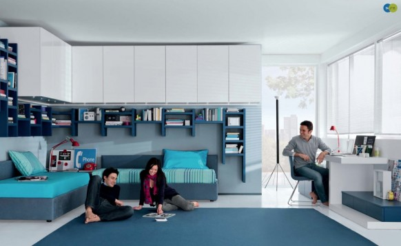 бело-голубой интерьер комнаты для подростка, MisuraEmme