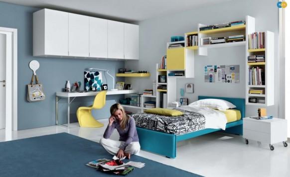 бело-голубо-желтый интерьер комнаты для девушки, MisuraEmme