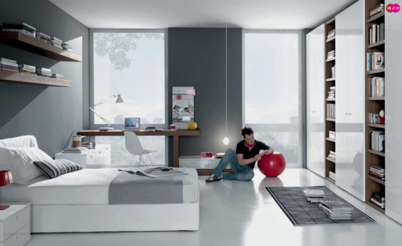 бело-серый интерьер комнаты для подростка, MisuraEmme