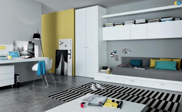 полосатый дизайн интерьера комнаты для подростка, MisuraEmme
