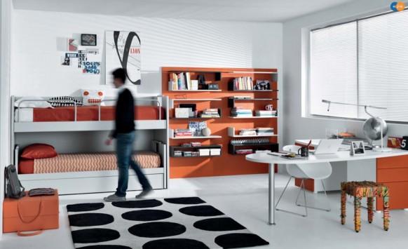 оранжевый дизайн интерьера комнаты для подростка, MisuraEmme