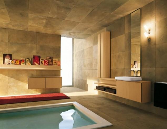 золотистый интерьер с встроенной ванной