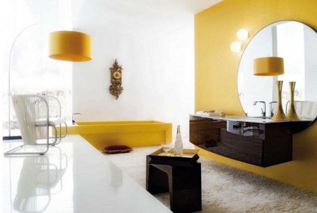 желто-черный интерьер ванной
