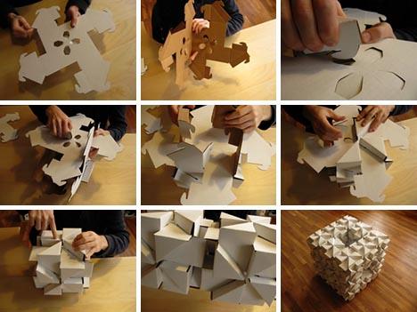 процесс сборки мебели из картона своими руками