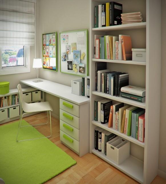 салатовый интерьер детской - рабочее место