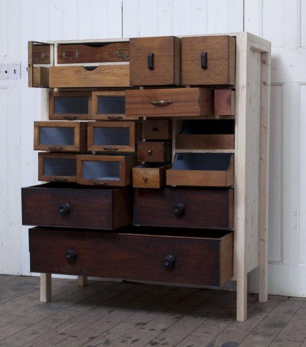 шкаф из старых открытых ящиков, Rupert Blanchard