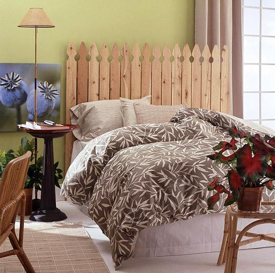 спинка - заборчик, декор спальни своими руками