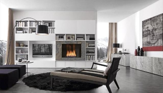 дизайн гостиной с книжными полками, presotto