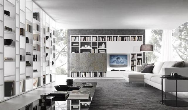 книжные полки и шкафы в гостиной