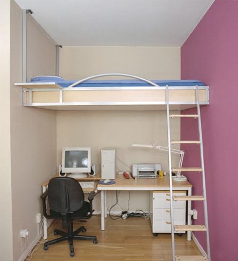 кровать - чердак для маленких узких комнат