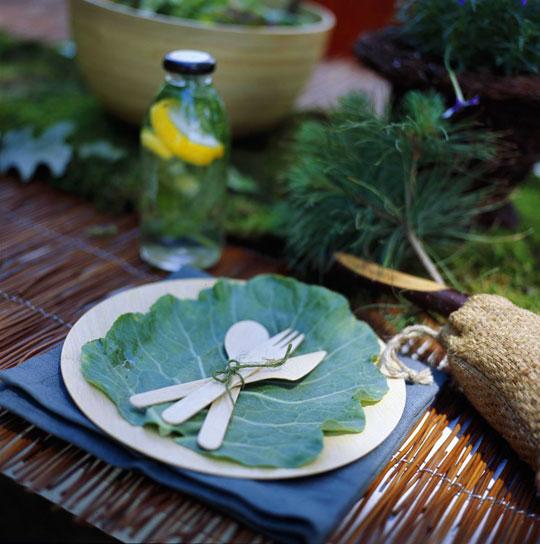 листья вместо салфетки