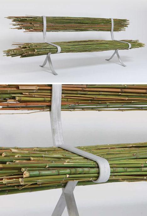 бамбуковая скамейка - детали