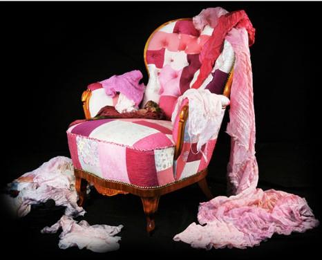 пэчворк, розовое кресло Leftovers