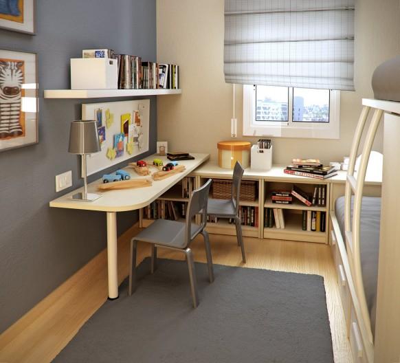 маленькая узкая детская комната