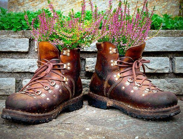 старые ботинки как цветочные горшки