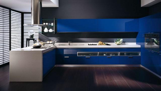 синий электрик, кухни Tess от Scavolini