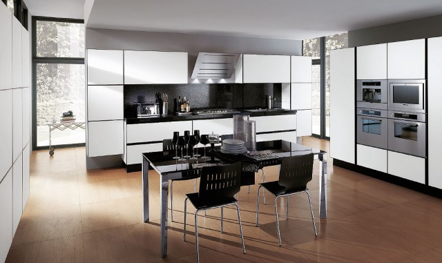 белый интерьер кухни, scenery, Scavolini
