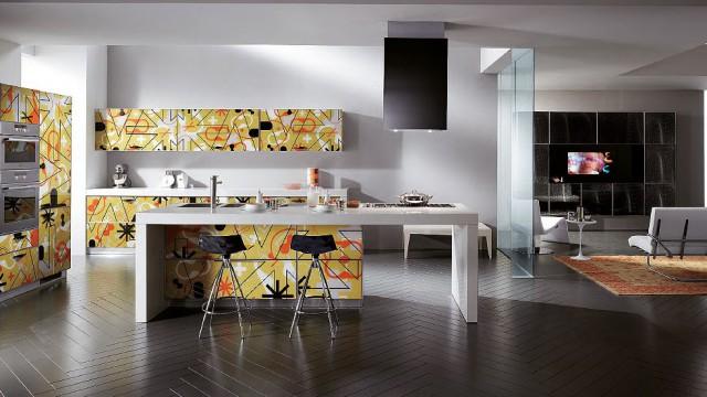 интерьер кухни Crystal с трафаретной печатью на мебели, Scavolini