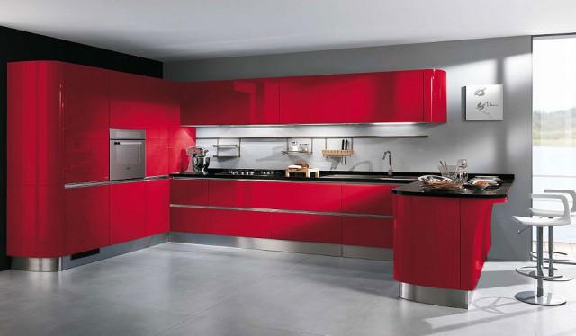 алая кухонная мебель, серия Tess, Scavolini