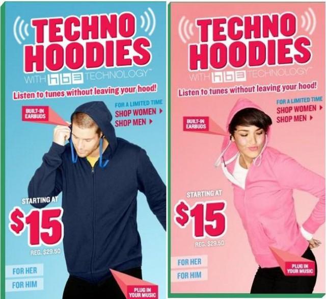 флисовые толстовки Techno Hoodie с встроенными наушниками