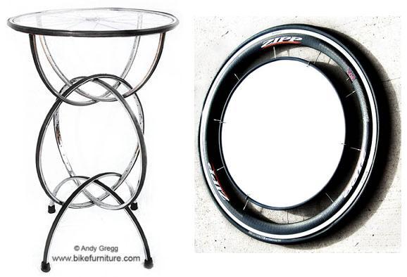 барный столик и зеркало - мебель из вело деталей