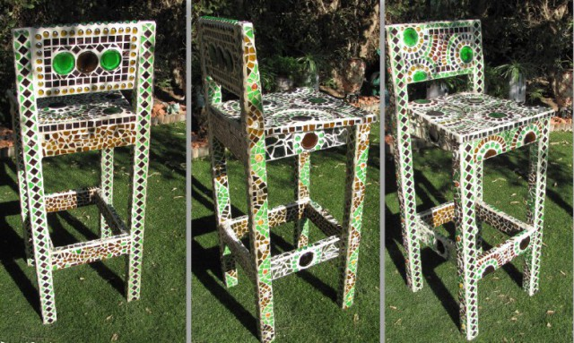 мозаика своими руками - декор стула, Дина Фрид