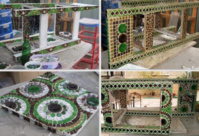 процесс оклейки стула мозаикой
